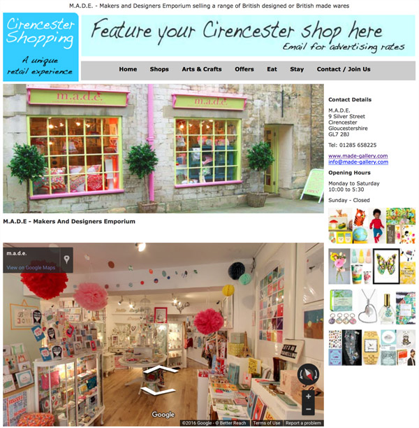 Get your own page on the Cirencester Shopping website