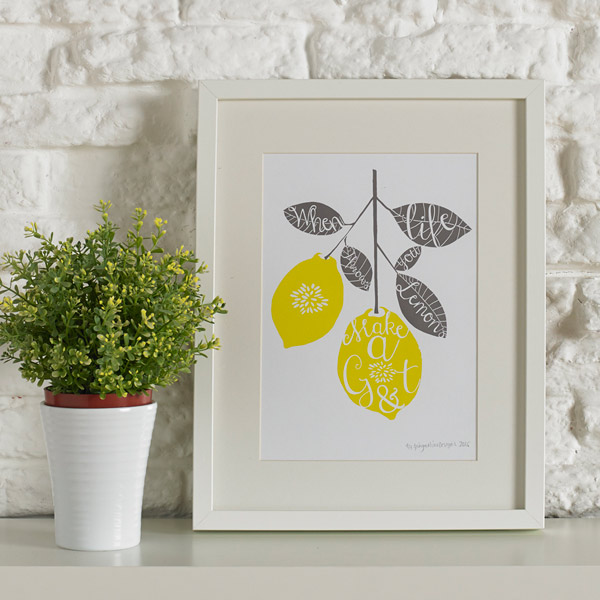 Gin and lemon print